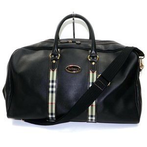 Auth Burberry Travel Bag Black Coated #6624B20